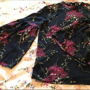 LOFT Floral Bell Sleeve Blouse